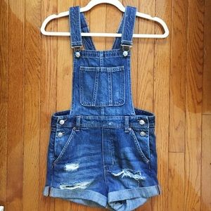 Denim Cutoff Overalls